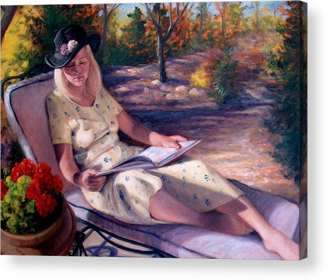 Realism Acrylic Print featuring the painting Santa Fe Garden 1 by Donelli DiMaria