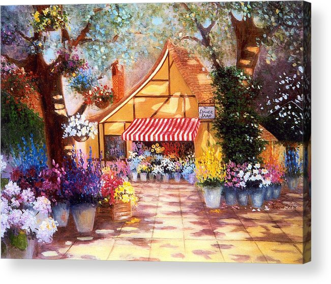 Market Street Acrylic Print featuring the digital art Saturday Market Place by Jeanene Stein