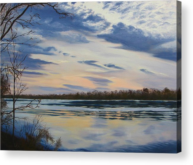 Clouds Acrylic Print featuring the painting Scenic Overlook - Delaware River by Lea Novak