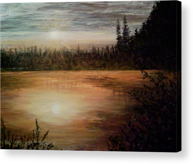 Landscape Seascape Water Trees Calm Sunset Settle Acrylic Print featuring the painting Settling Down by Sally Van Driest