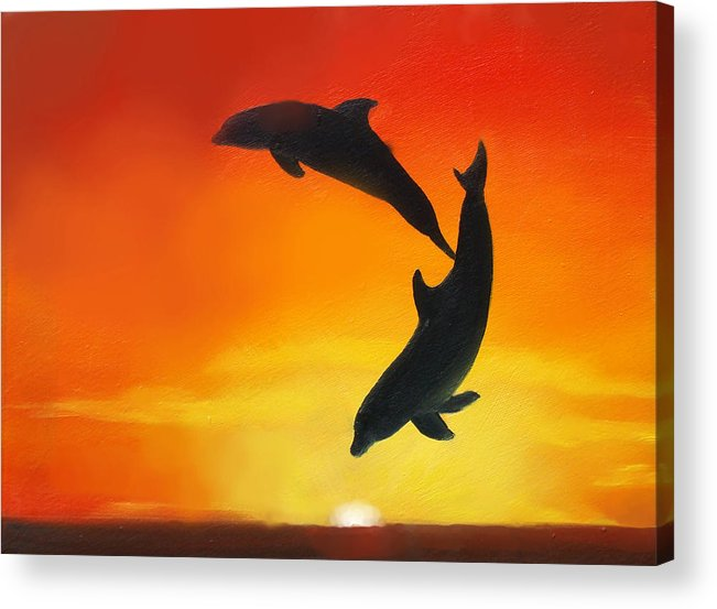 Sunset Acrylic Print featuring the painting Showing Off by Darlene Green