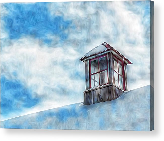 Snowy Rooftop Acrylic Print featuring the photograph Snowy Rooftop by Tom Kiebzak