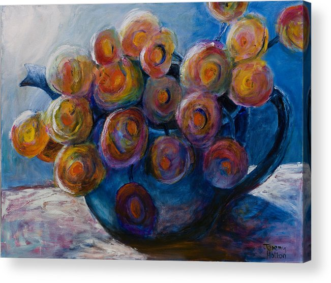Flowers Acrylic Print featuring the painting Song Of Flowers by Jeremy Holton