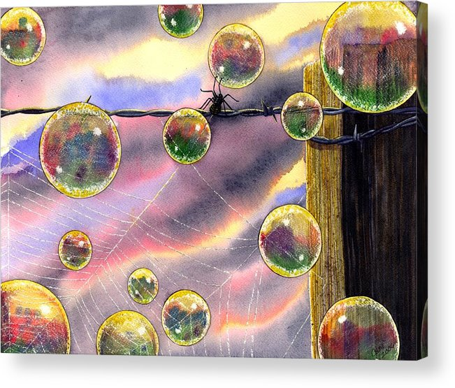 Bubbles Acrylic Print featuring the painting Spyder by Catherine G McElroy