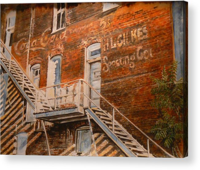 Urban Acrylic Print featuring the painting Steps In Time by Thomas Akers