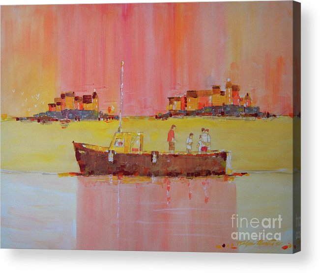 Boats Acrylic Print featuring the painting Still Waters by Art Mantia