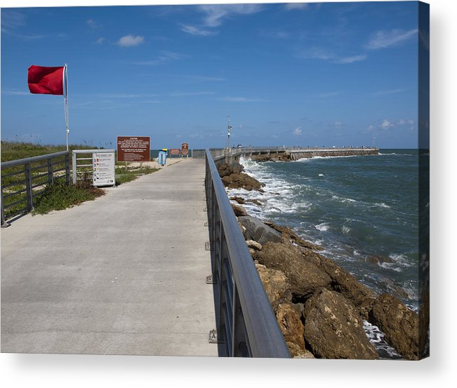 Storm Acrylic Print featuring the photograph Storm Warning On The Atlantic Ocean In Florida by Allan Hughes