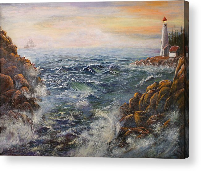 Seascape Acrylic Print featuring the painting Stormy Pacific by Lucille Owen-Huston