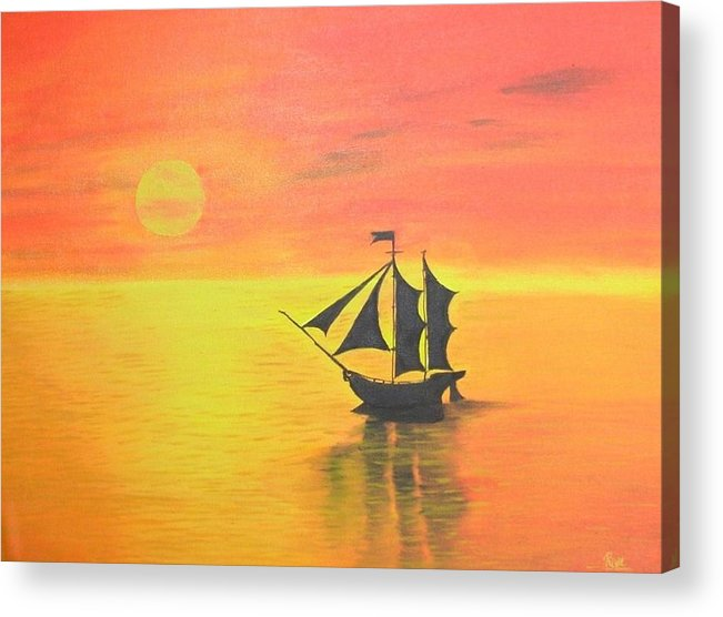 Sunrise Acrylic Print featuring the painting Sunrise Sea Ship Sss by Riya Rathore