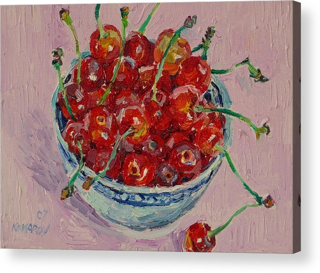 Cherries Acrylic Print featuring the painting Sweet Cherries by Vitali Komarov