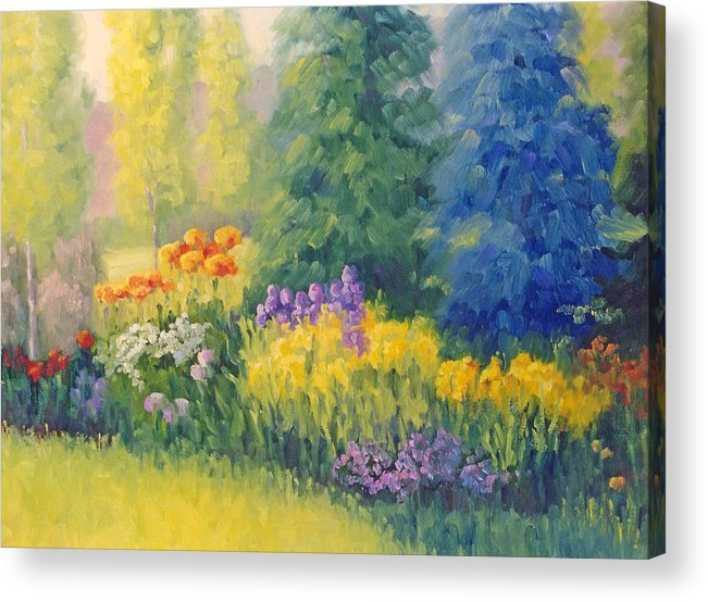 Garden Acrylic Print featuring the painting Symphony Of Summer by Bunny Oliver