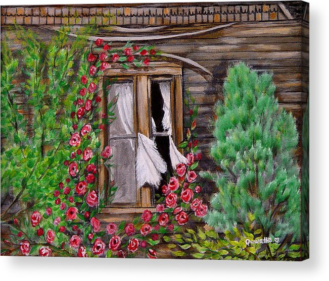Curtains Acrylic Print featuring the painting Tattered Curtains by Quwatha Valentine