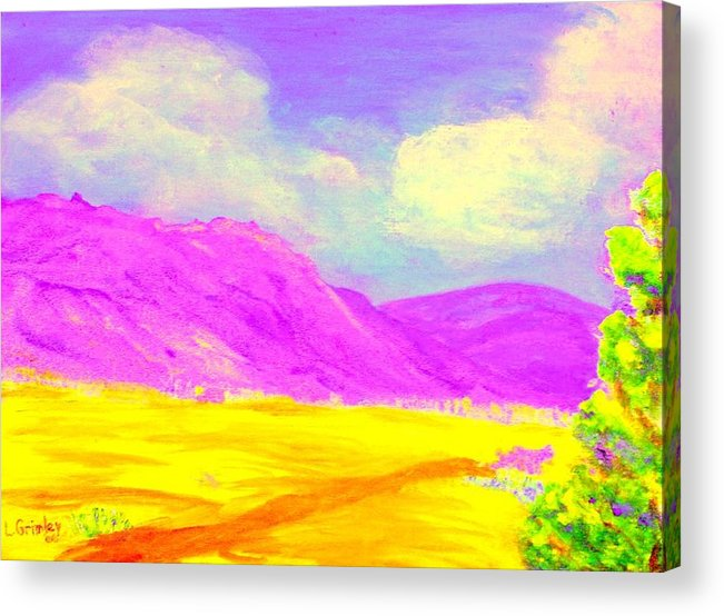 Mountains Acrylic Print featuring the painting Technicolor Desert by Lessandra Grimley