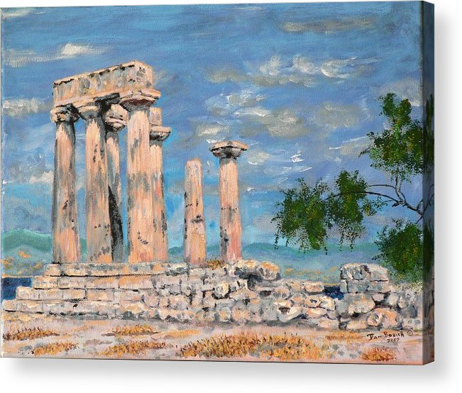 Landscape Acrylic Print featuring the painting Temple Of Apollo by Dan Bozich