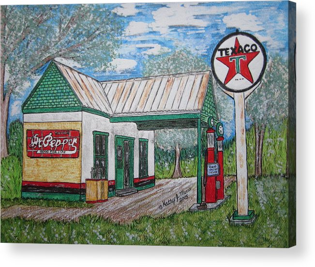 Nostalgia Acrylic Print featuring the painting Texaco Gas Station by Kathy Marrs Chandler