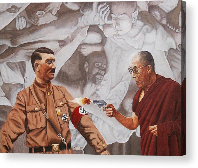 Dalai Lama Acrylic Print featuring the painting The Dalai Lama Shoots Adolph Hitler by Allan OMarra
