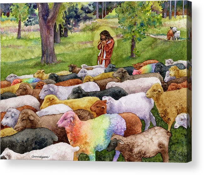 Jesus Painting Acrylic Print featuring the painting The Good Shepherd by Anne Gifford