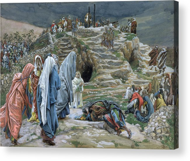 Tissot Acrylic Print featuring the painting The Holy Women Stand Far Off Beholding What Is Done by James Jacques Joseph Tissot