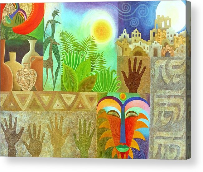 Spiritual Ancient Tropical Mystery Colourful Sun Masks Clay Patterns Acrylic Print featuring the painting The Human Touch by Jennifer Baird