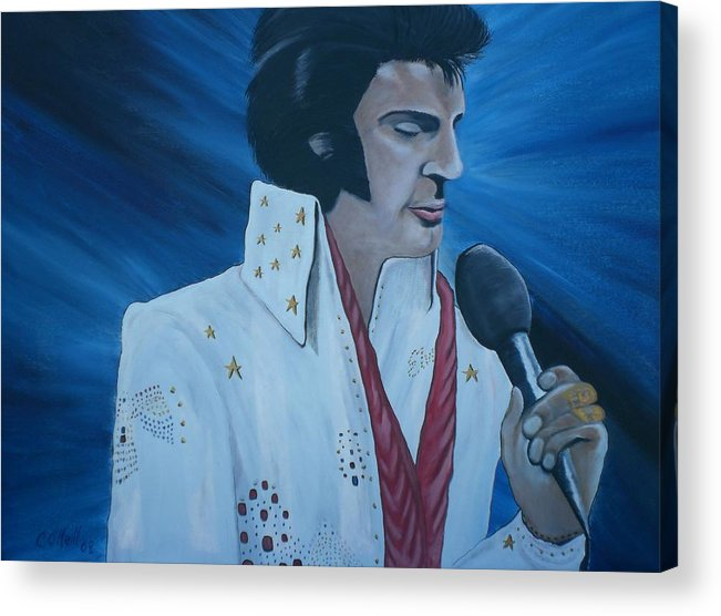 Elvis Acrylic Print featuring the painting the King by Colin O neill