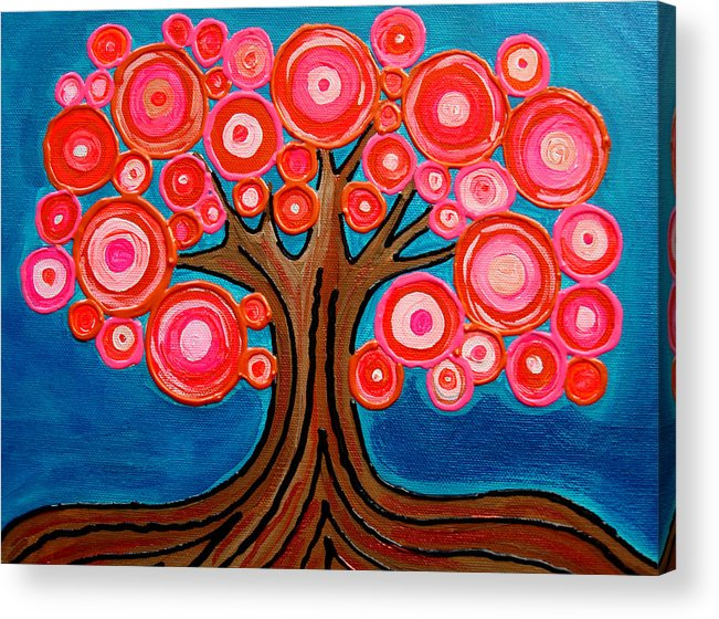 Tree Colorful Bright Funky Playful Pink Orange Abstract Acrylic Print featuring the painting The Lollipop Tree by Pamela Cisneros