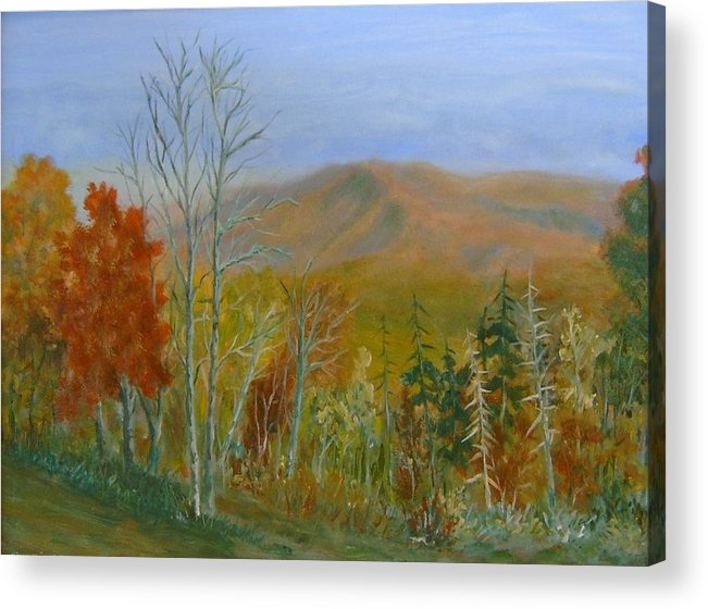 Mountains; Trees; Fall Colors Acrylic Print featuring the painting The Parkway View by Ben Kiger