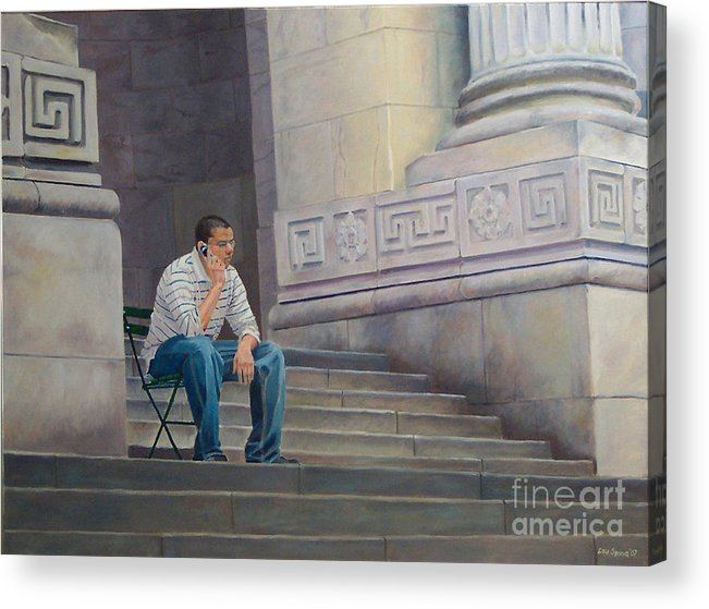 New York Library Acrylic Print featuring the digital art The Steps To The Humanities by Lou Spina