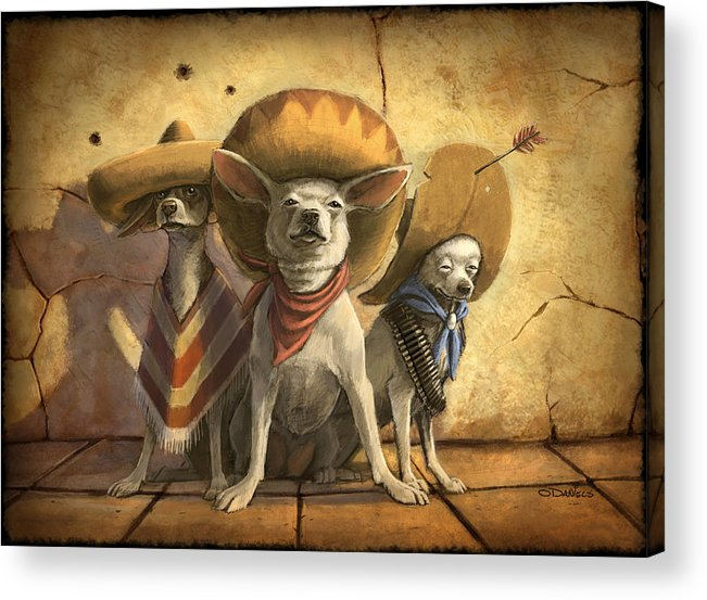 Dogs Acrylic Print featuring the painting The Three Banditos by Sean ODaniels