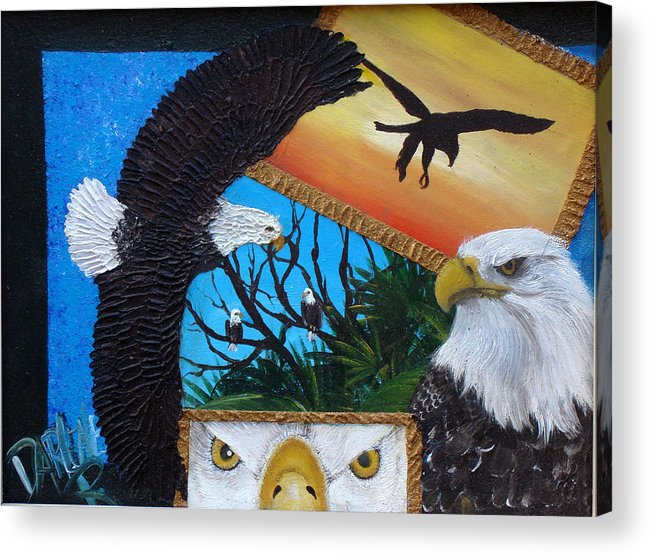 Eagle Acrylic Print featuring the painting Those Eyes  Eagle by Darlene Green