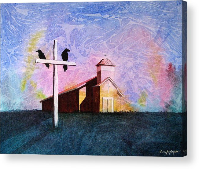 Raven Acrylic Print featuring the painting Thy God Has Lent Thee by Sandy Applegate