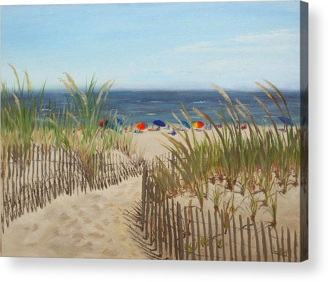 Beach Acrylic Print featuring the painting To The Beach by Lea Novak