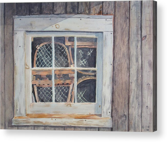 Lobster Traps Acrylic Print featuring the painting Tucked Away by Debbie Homewood