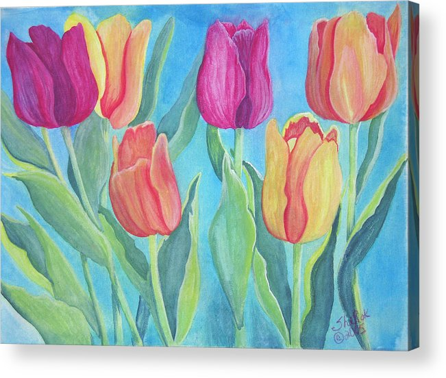Floral Acrylic Print featuring the painting Tulips by SheRok Williams