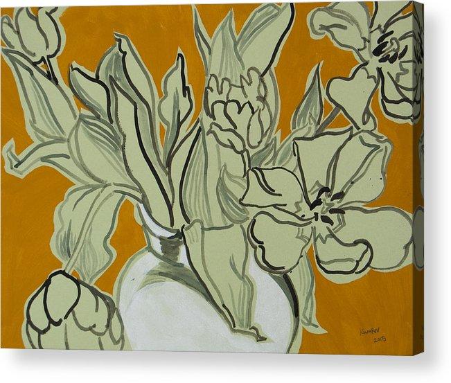 Tulip Acrylic Print featuring the painting Tulips by Vitali Komarov