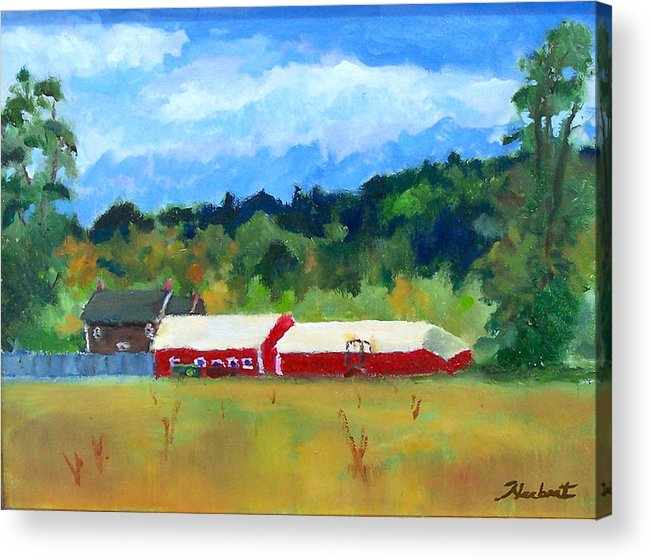 Landscape Acrylic Print featuring the painting Two Barns by Bob Herbert