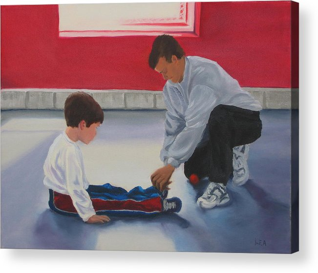 Child Acrylic Print featuring the painting Tying Shoes by Lea Novak