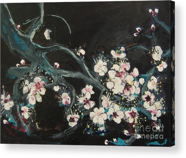 Ume Blossoms Paintings Acrylic Print featuring the painting Ume Blossoms2 by Seon-Jeong Kim