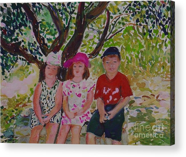 Portrait Children Original Illustration Leilaatkinson Acrylic Print featuring the painting Under The Shade Of A Tree by Leila Atkinson