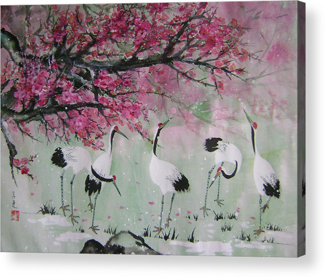 Birds Acrylic Print featuring the painting Under The Snow Plums 2 by Lian Zhen