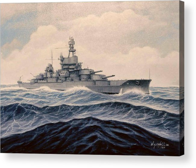 Marine Art Acrylic Print featuring the painting Uss Pensylvania by William H RaVell III