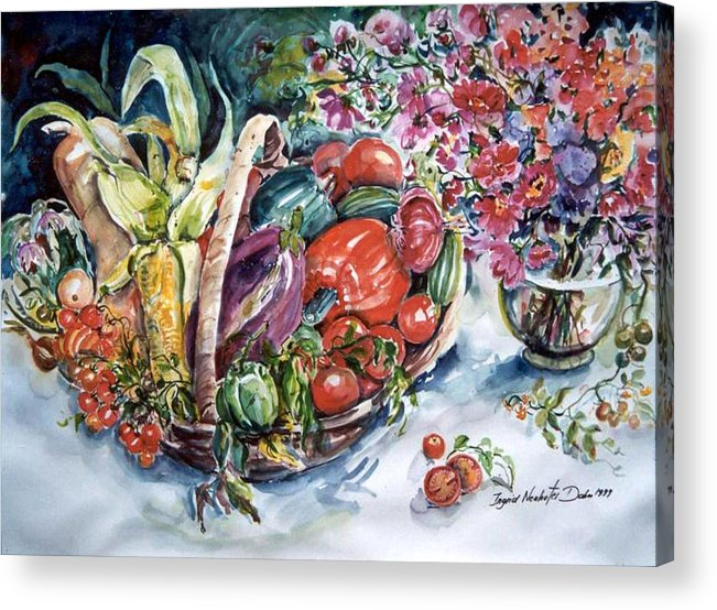 Ingrid Dohm Acrylic Print featuring the painting Vegetable Harvest by Ingrid Dohm