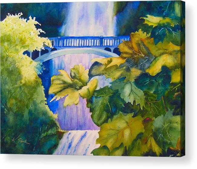 Waterfall Acrylic Print featuring the painting View Of The Bridge by Karen Stark
