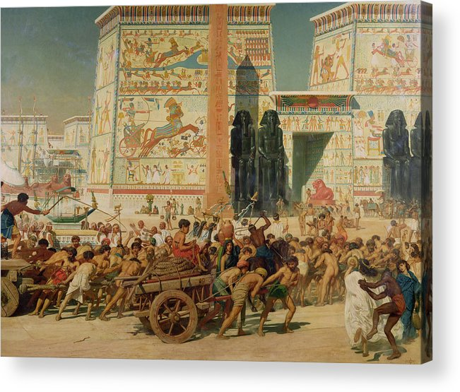 Temple Acrylic Print featuring the painting Wagons Detail From Israel In Egypt by Sir Edward John Poynter