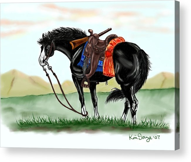Horses Acrylic Print featuring the digital art Waiting On The Boss by Kim Souza