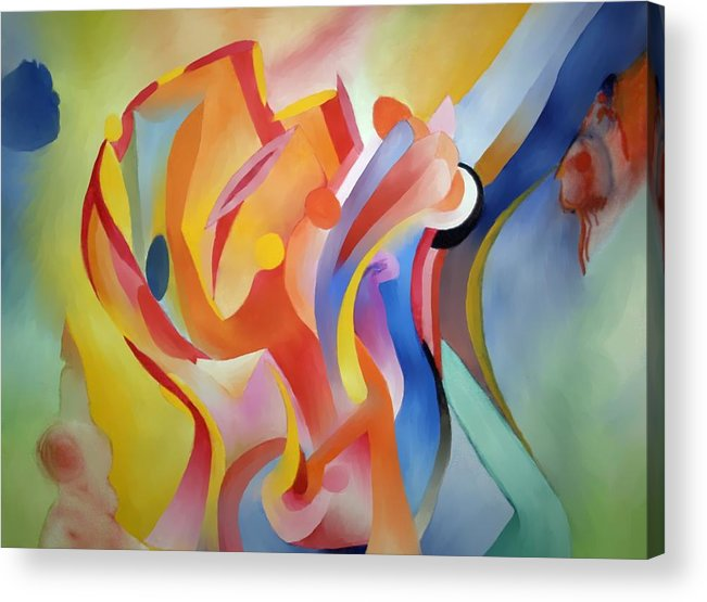 Abstract Acrylic Print featuring the painting Warping Reality by Peter Shor