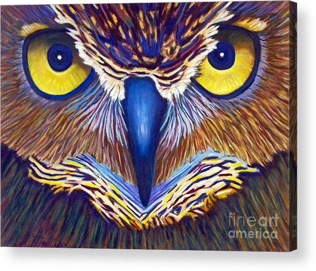 Owl Acrylic Print featuring the painting Watching by Brian Commerford