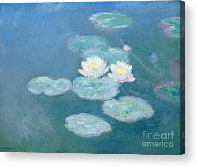 Waterlilies Acrylic Print featuring the painting Waterlilies Evening by Claude Monet