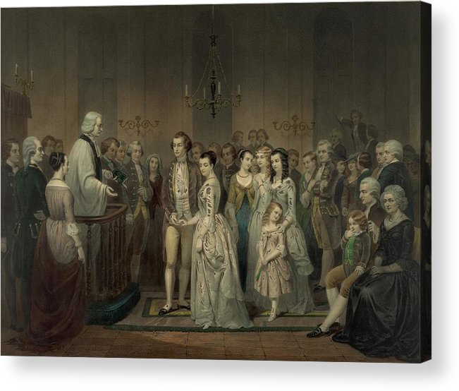 History Acrylic Print featuring the photograph Wedding Of George Washington And Martha by Everett