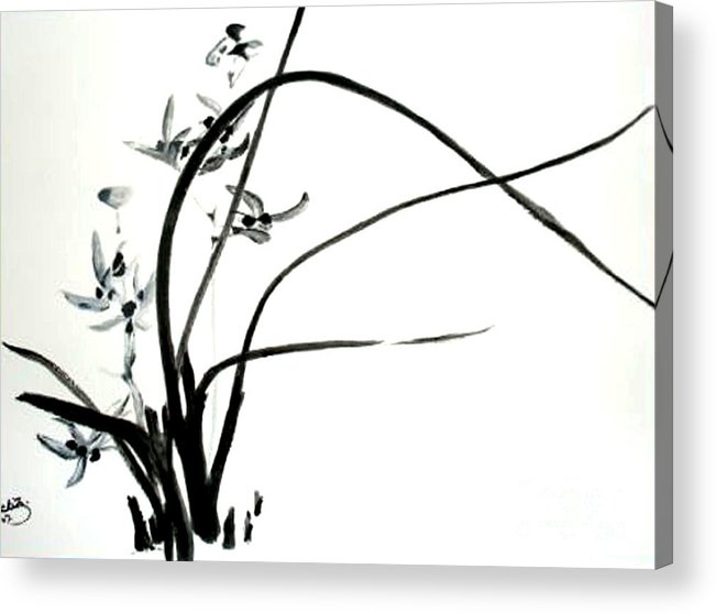 Sumi-e Acrylic Print featuring the painting Wild Orchid by Sibby S