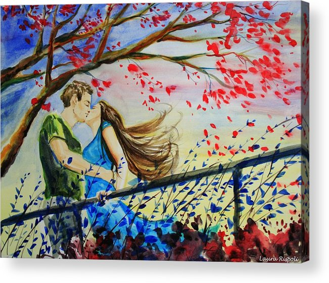 Wind Acrylic Print featuring the painting Windy Kiss by Laura Rispoli